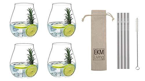 Riedel 5414/67 Gin Tonic Gläser Set 4 Stück + Gratis 4er Set EKM Living Edelstahl Strohhalme (Silber)
