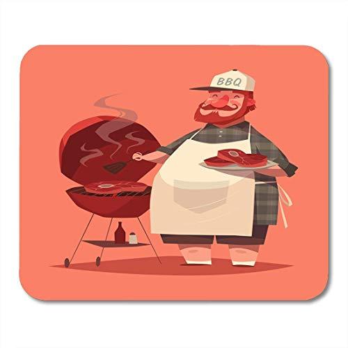 Mauspad charakter bbq chef retro koch grill cartoon barbecue restaurant mousepad für notebooks, Desktop-computer mausmatten