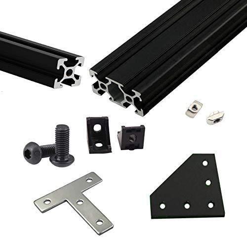 BLV mgn Cube - Kit per estrusione in alluminio per stampante 3D, con dadi, viti, staffe angolari F/ CR10, altezza 365 mm, colore: nero
