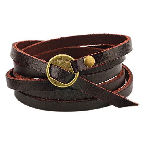 Mehrschichtiges Leder Armband Unisex Original Leder Manschette Wickelseil Armband Gürtel Armband (Dunkelbraun)