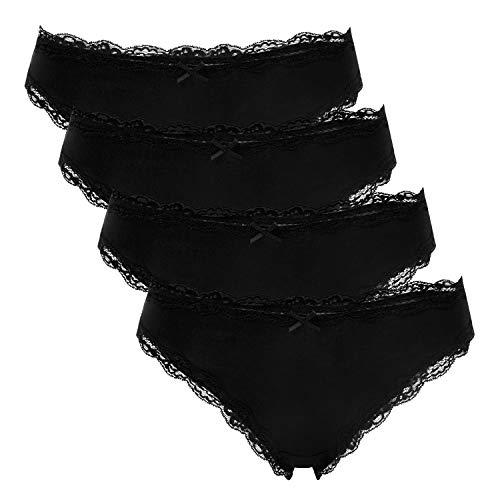 Charmo Damen Baumwoll Bikini Panties Schleife Unterhose mit verführerischen Spitze Slip 4er Pack S