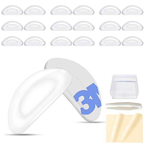 VSuRing 鼻パッド シール 柔らかい エアシリコン 厚み2mm 20個セット ずれ落ち防止 メガネ用鼻あて 交換 ロック メガネ跡防止 眼鏡鼻パッド 鼻盛りまめパッド ピンセット 収納ケース クロス付 (透明)