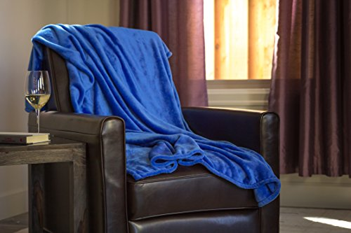 Higher Comfort Luxuriously Soft Premium Throw Blanket - Royal Blue - 50' x 60' - Perfect as All-Season(s) Couch Blanket or Bed Throw