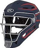 Rawlings Velo Series 2.0 Two-Tone Baseball Catcher's Helmet, Matte Navy and Scarlet, Junior, CHV27J-N/S