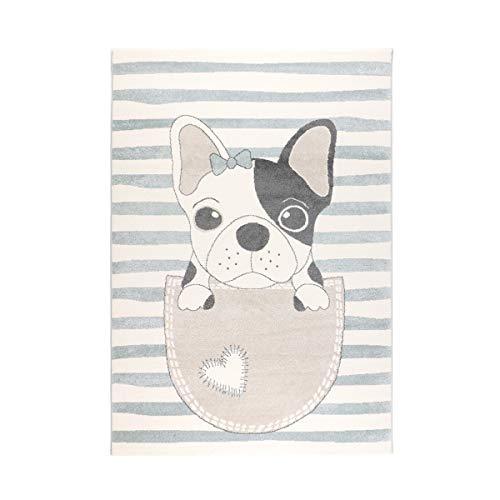 havatex Kinderteppich Puppy - Rosa Weiß oder Blau Weiß gestreift | süßes Motiv mit Hund Welpe Bulldogge | Öko-Tex Siegel | Mädchen Jungen Kinderzimmer, Farbe:Blau, Größe:160 x 230 cm