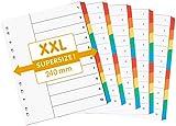 perfect line 5-er Pack 10-teiliges DIN-A4 Register ÜBERBREIT & farbig (5x10), 24 x 29,7 cm, mit Deckblatt, XXL Farb-Trenner aus Karton, 5 Farben, 160 g, Trenn-Blätter für Ordner-Organisation im Büro