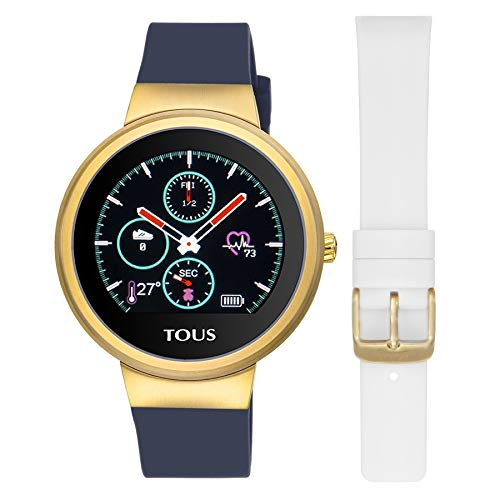 TOUS Reloj Activity Rond Touch de Acero IP Dorado con Correa de Silicona Intercambiable.