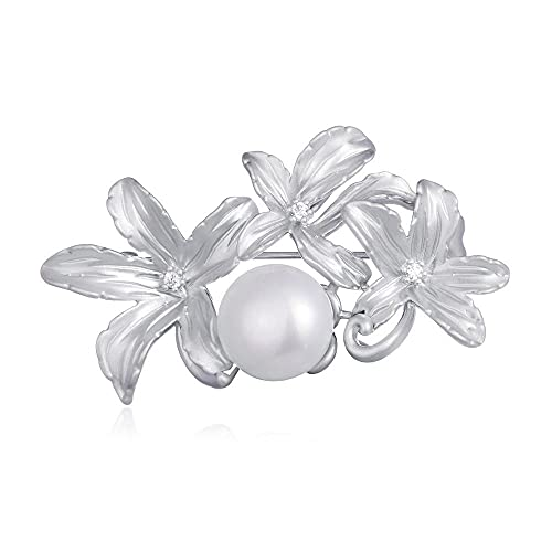 Handmade Fashion Brooches For Women Freshwater Pearls Silver Color Brooch Banquet Wedding Pins Coat Vintage Jewelry