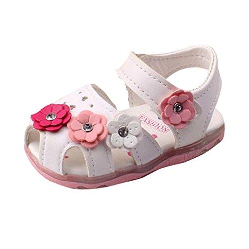OYSOHE Mädchen Schuhe, Kleinkind Blumen Mädchen Sandalen Beleuchtete Soft Soled Prinzessin Baby Schuhe