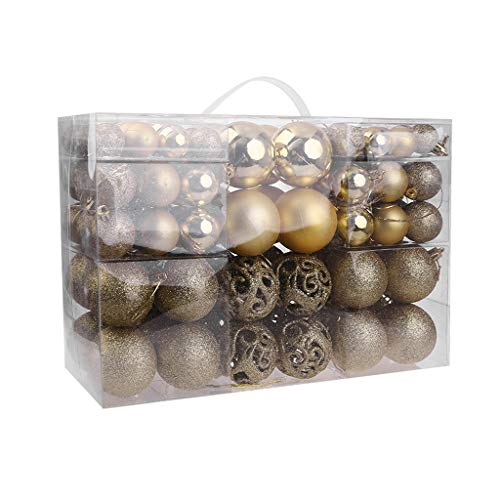 Yuxiale 100 Pieces of Assorted Christmas Ball Ornaments Shatterproof Xmas Decorative Hanging Baubles Set with Reusable Hand-held Gift Package for Holiday Xmas Tree Decorations, Multi-Colors