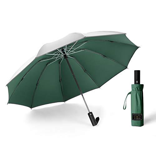 XXMK  Paraguas a prueba de viento  Plata titanio completamente automático Sombrilla inversa, Paraguas de coches, protección UV Mujer paraguas de sol, de doble capa paraguas de Sun Paraguas de viaj