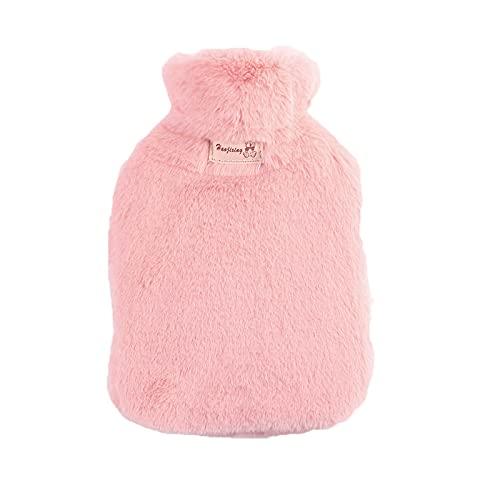 Botella de agua caliente con suave cubierta mullida de imitación premium, 1.8 litros de gran capacidad, bolsas de PVC para aliviar el dolor, espalda, cuello, hombros para niña y mujer rosa