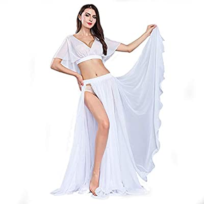 ROYAL SMEELA Belly Dance Costume Set for Women Chiffon Dancing Skirt and Tops Sexy Large Swing Dancing Skirts Dress One Size