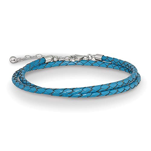 Sterling Silver Reflections Blue Leather With 2in Ext Choker Wrap Bracelet