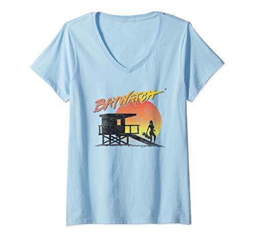 Womens Baywatch Lifeguard Sunset V-Neck T-Shirt, Baby Blue