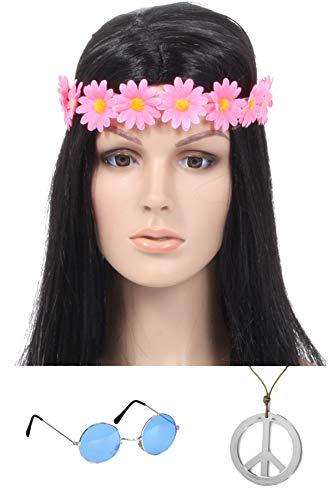 Marco Porta Disfraz de hippie para nia, accesorios para el pelo (diadema rosa, gafas azules)