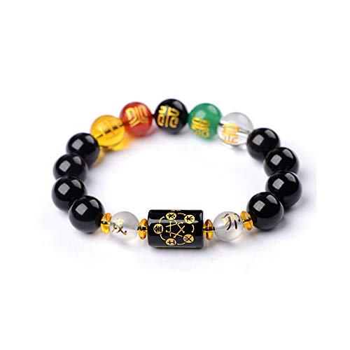 SMART DK Feng Shui Obsidian Five-Element Wealth Porsperity 14mm Bracelet, Attract Wealth and Good Luck, Deluxe Gift Box Included (Black (Obsidian))