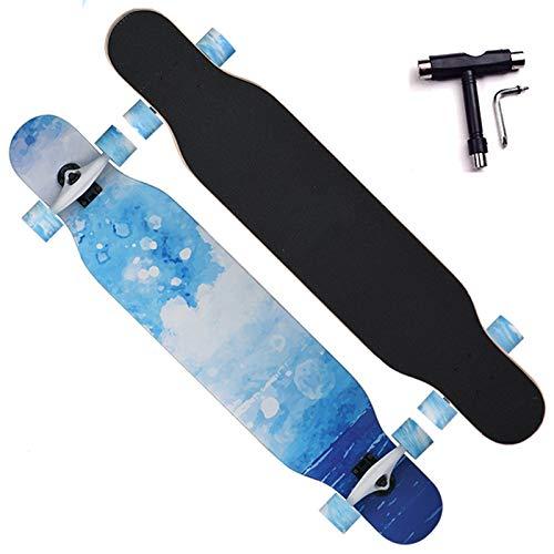 VOMI Adolescentes Skateboard, Double Kick Deck, 80A PU Rueda, Impresión por Transferencia de Calor, 7 Capas de Arce, Adecuado para Principiantes Adolescentes y Adultos, con T-Tool,A
