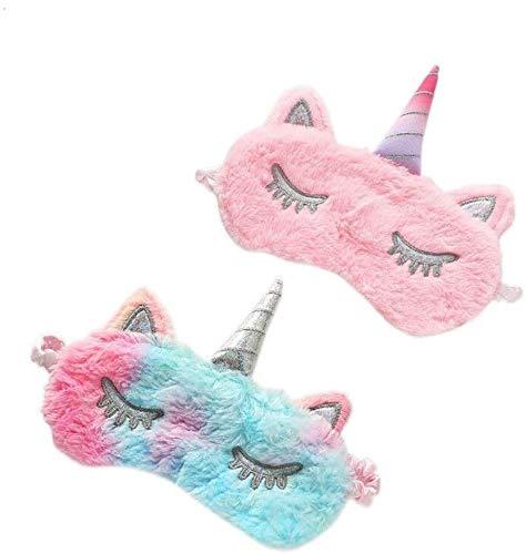 Quadow Unicorn Sleeping Mask, 2 Pack Girls Soft Plush Blindfold Mask, Cute Unicorn Kids Sleep