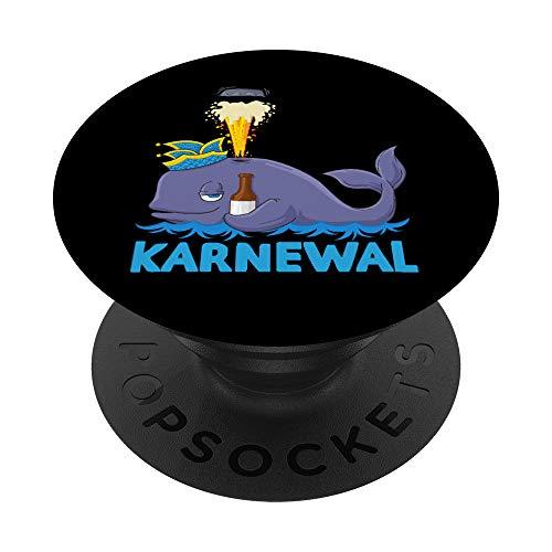 Lustige Karnval Kostüm Wal Bier Wortspiel PopSockets PopGrip: Ausziehbarer Sockel und Griff für Handys/Tablets mit Tauschbarem Top