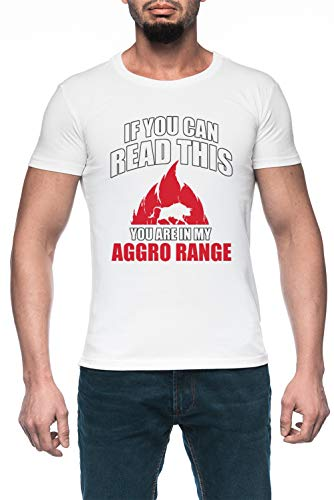 If You Can Read This You Are In My Aggro Range Hombre Blanco Camiseta Manga Corta Men's White T-Shirt
