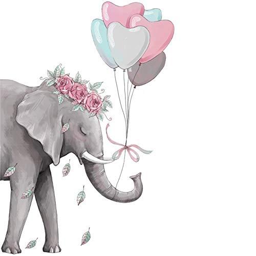 TAOYUE Meisjes hart kamer muursticker olifant boek ballon hart stickers aftrekplaatjes vinyl baby kinderkamer decoratie wandtattoo
