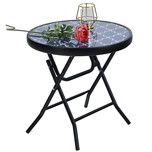 PHI VILLA Folding Side Table, Foldable Coffee Table, Outdoor Garden Table, Small Round Patio Table for Outdoor and Indoor-Blue