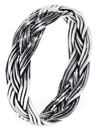 WINDALF Geflochtener Wikingerring ZÄERA h: 0.5 cm Flecht-Muster handgeschmiedet 925 Sterlingsilber (Silber, 52 (16.6))
