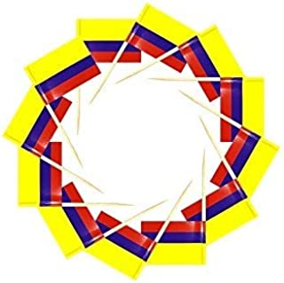 200 Pcs Toothpick Cupcake Toppers Colombia Colombian Flag,Mini Fruit Food Toothpick Flag,Cocktail Party Dinner Celebration...