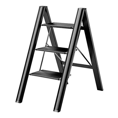 ZENGAI Aluminio Multifunción Plegable Escaleras Taburete con Pedal Grande Antideslizante, Puesto De Flores Estante para Balcón, Sala, Comedor (Color : Black, Size : 45.5x64x82cm)