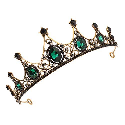 FRCOLOR Vintage Barroco Corona Boda Tiara Corona Novia Diamantes de Imitación Corona...