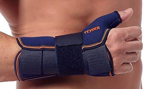 Teyder Daumenbandage links mit stabiler Schiene | Blau | Größe XL | Handgelenkschiene aus Neopren | Fixierbare Daumenbandage