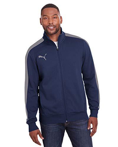 PUMA Sport Adult P48 Fleece Track Jacket, Peacoat/QUT SHD, Large