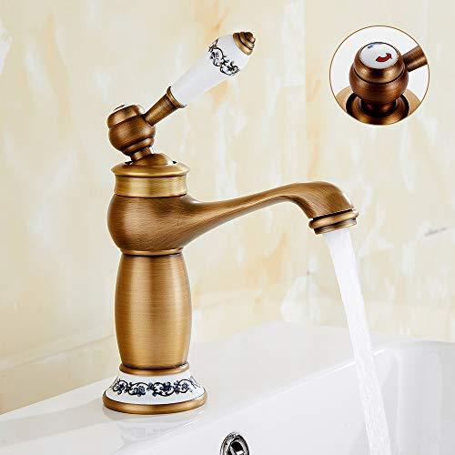 Grifo de lavabo de latón retro, de cerámica, grifo de fregadero vintage de bronce barnizado con entrada de grifo de agua fría/caliente para cocina, cuarto de baño