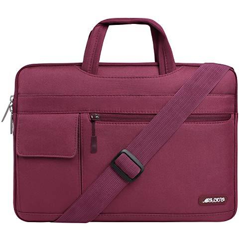 MOSISO Funda Protectora Compatible con 13-13.3 Pulgadas MacBook Pro/MacBook Air/Ordenador Portátil, Bolsa de Hombro Blanda Maletín Bandolera de Estilo Flap, Vino Rojo
