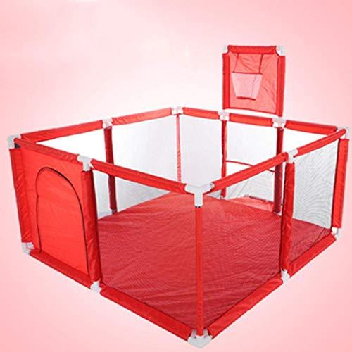MYYINGBIN Parque con Colchonetas Aro De Baloncesto Bebé Y Niños Pequeños Corral De Juegos Plegable Valla De Juego Segura, 120 × 120 × 62 CM, Red