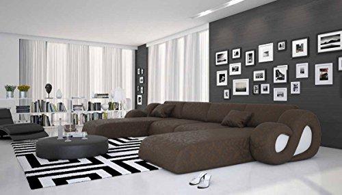 Riesige Wohn-Landschaft aus Microfaser 485x242 cm U-Form dunkelbraun | Montana-U | Designer Couch-Garnitur im XXL Format mit 2 Ottomanen | Polster-Ecke für Wohnzimmer dunkelbraun 485cm x 242cm