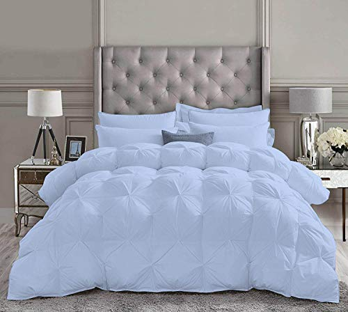 Best Bedding 3 Piece Pinch Pleated Comforter Set Premium 800 Thread Count 100% Egyptian Cotton Super Soft (Full/Queen Size Light Blue Color)