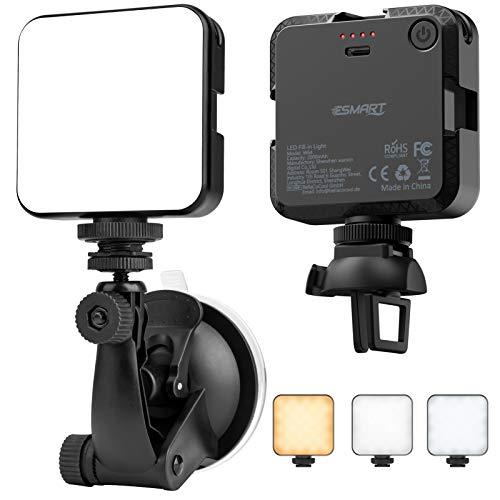 Luz de Cámara, ESMART Luz para Videoconferencia, 64 LED Luz Regulable de 2500K-6500K, Luz Portátil para Laptops, Cámaras y Móviles con Soporte, Tipo-C