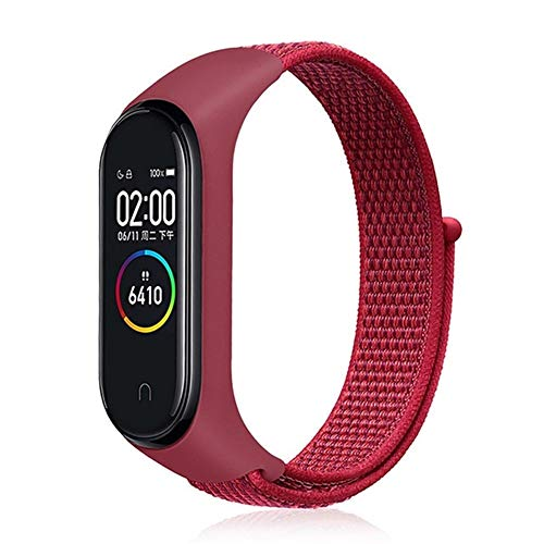 Nylonband for Xiaomi Mi Band 4 3 austauschbare Armband Mi Band4 BAND3 Sports Armband Breathable Armband for Xiomi Miband 3 4 (Band Color : Red)