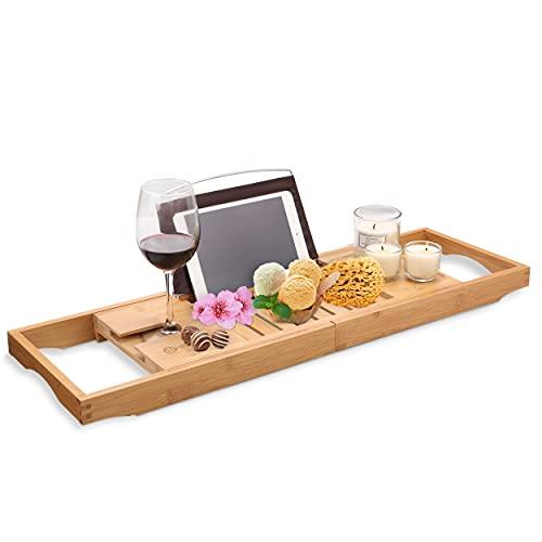 HEIMWERT Bandeja para bañera – Extragrande y extensible – Bandeja para bañera – Bandeja para bañera y mesa de desayuno accesorios de madera de bambú para cama de baño