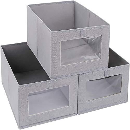 TLBL Caja de almacenamiento plegable transparente sin tapa, costura exquisita, desmontable, para armario, estantes, cestas de almacenamiento para el hogar y la oficina. Paquete de 3 unidades.