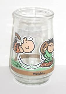 Welch's Glass Tumbler Jelly Jar Peanuts Comic Classics Charlie Brown & Lucy: It's Kick Off Time