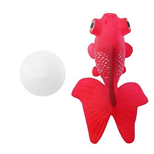 TOPINCN Silikon Künstliche Fische Hohe Simulation Lebensechte Schwimm Aquarium Aquarium Ornament Dekoration mit Linie Saugnapf(Red Goldfish)