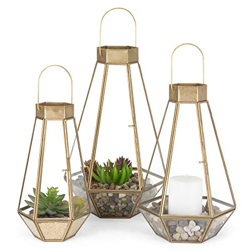 Best Choice Products Metal Indoor Outdoor Modern Decorative Faceted Hurricane Candle Holder Centerpiece Lanterns for Parties, Events, Weddings w/Clear Glass, Mirrored Base, Set of 3, Brass