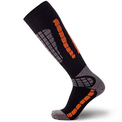 Pure Athlete Ski Socks - Best Lightweight Warm Skiing Socks (1 Pair - Black/Orange, Large/X-Large)