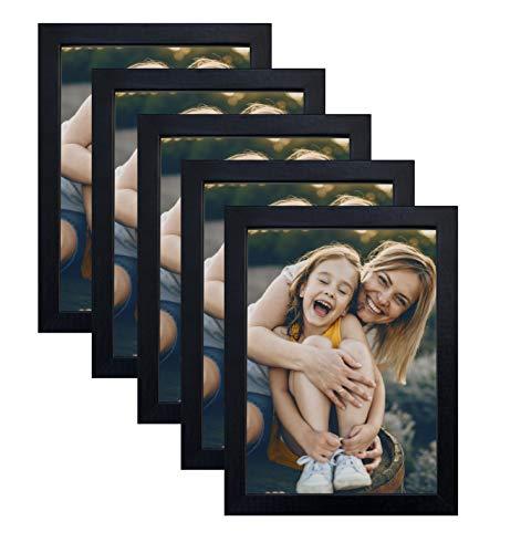 BD ART 5er Set Bilderrahmen 10x15 cm, MDF Fotorahmen mit Glasschiebe, Rahmen Schwarz