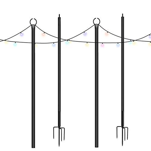 Brillihood Outside String Light Pole, 9ft Sturdy 4 Prong Fork Pole Stand, LED Solar Hanging Bulbs Used for Patio, Backyard, Courtyard Garden, Chrismas, Café Wedding Light Décor, (2-Pack)