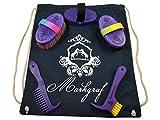 Markgraf Set de limpieza infantil de alta calidad para caballos cardaturas Haas + mochila (lila).