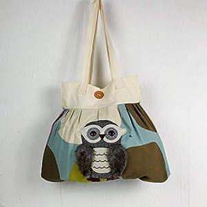 Handgenähte Handtasche in braun -bunt mit Eule, Schultertasche, Shopper, Umhängetasche